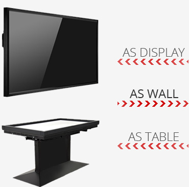 85 Inch Alvaro Giant can be used as Single Display, Touch Wall or Interactive MultiTouch Table
